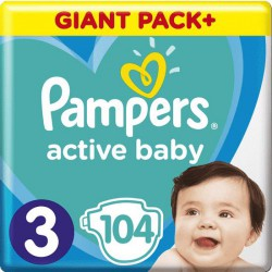 Plienky Active Baby 3 MIDI 6-10kg 104ks Pampers