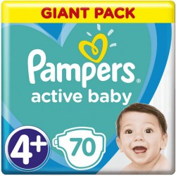 Plienky Active Baby 4+ MAXI+ 10-15kg 70ks Pampers